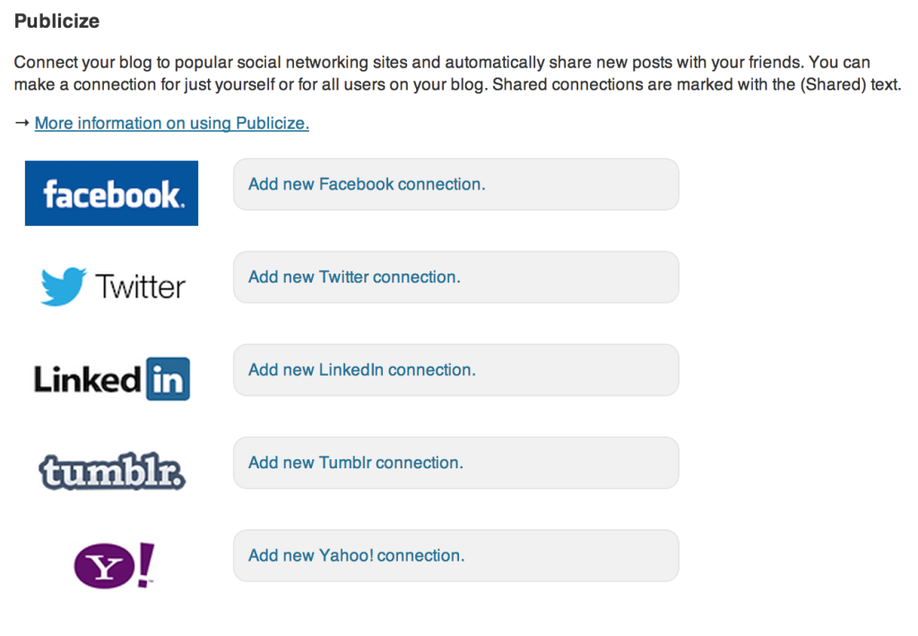 Facebook, Yahoo, Tumbler, Twitter and Linkedin setting by jetpack